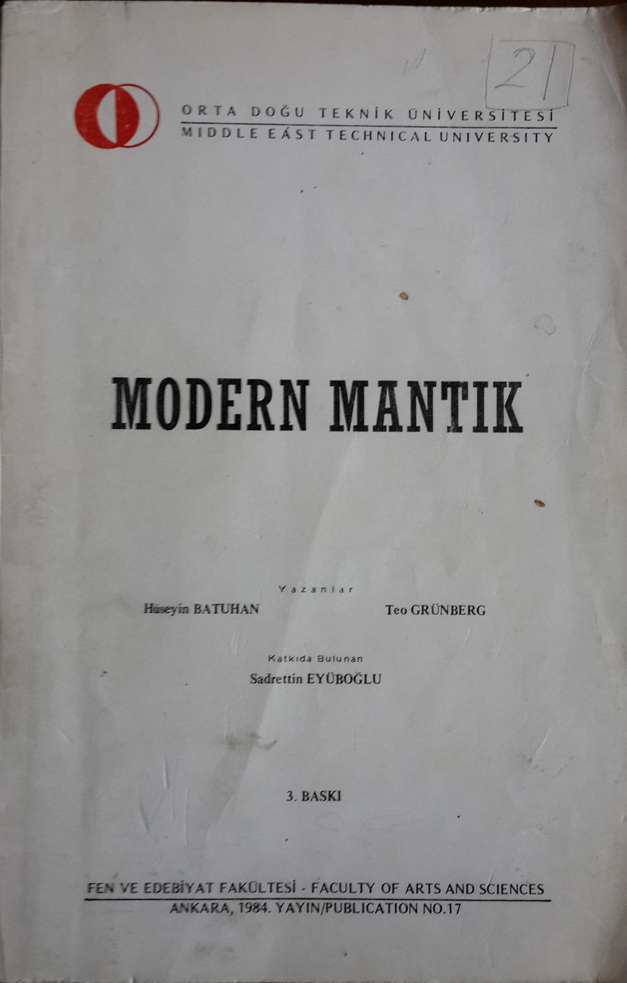 """Teo Grünberg & Hüseyin Batuhan""""Modern Mantık - 2"""" - Yapı Kredi Yayınları"""